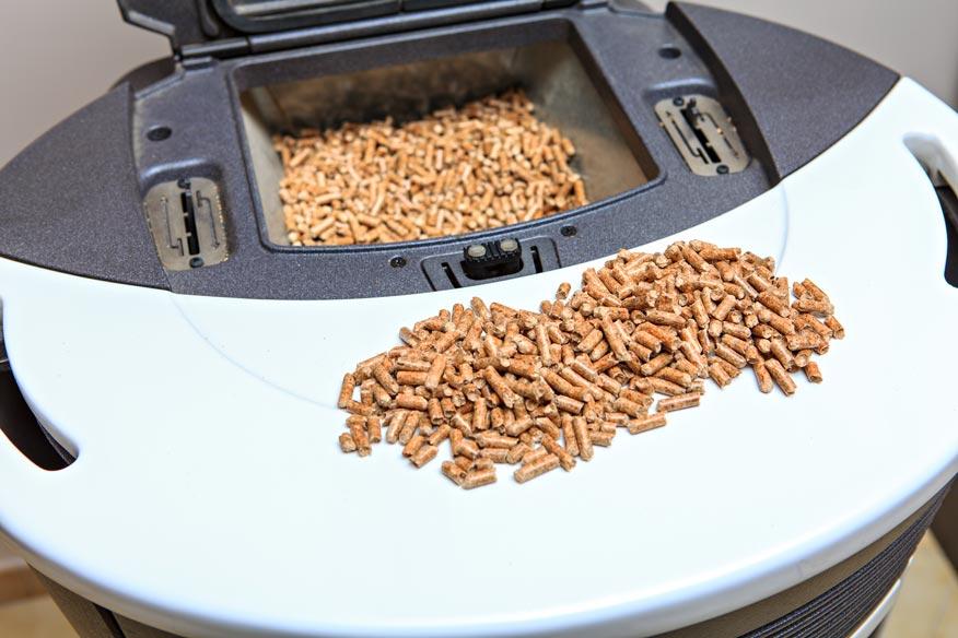 filling a pellet stove hopper