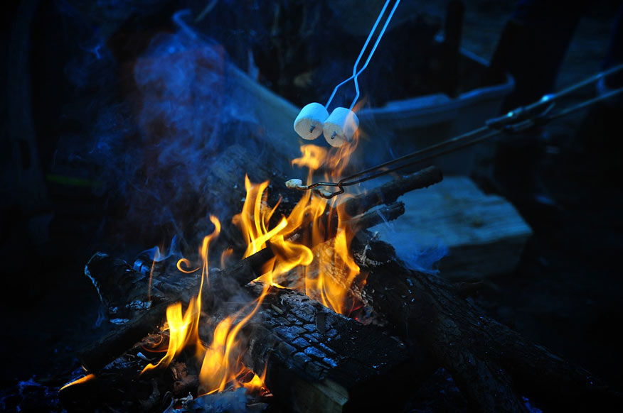 cooking marshmallows on fire pit