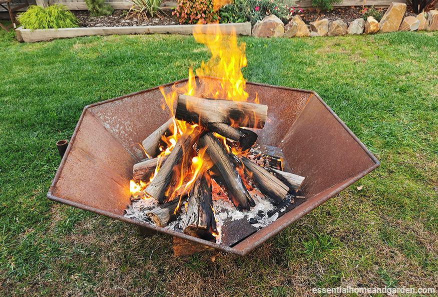 fire pit in back yard