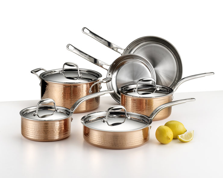 10 piece copper cookware set