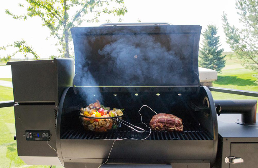 pellet grill with smoked meat