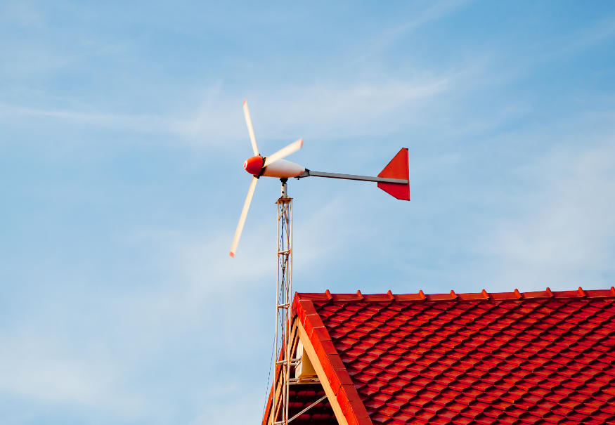 house with wind turbine