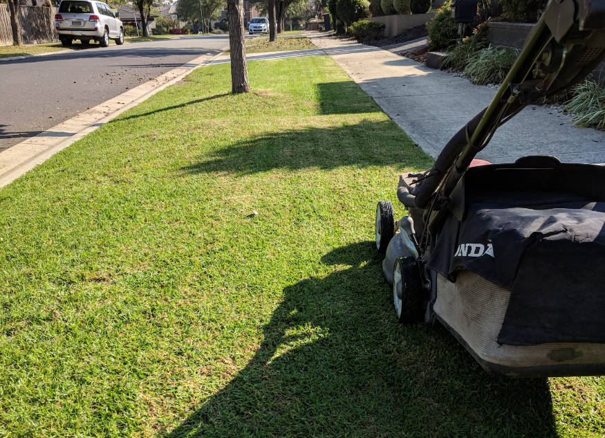 lawn mower on freshly mowed lawn