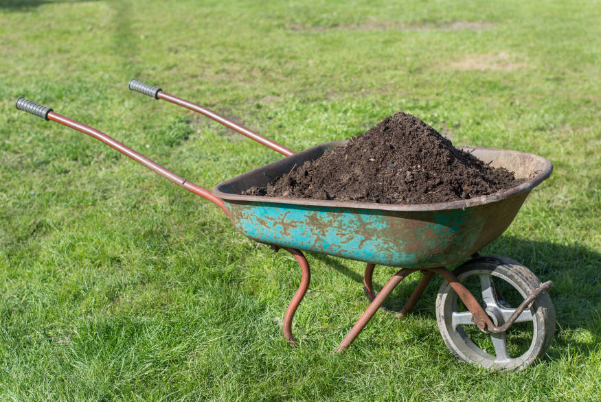 wheelbarrow of soil