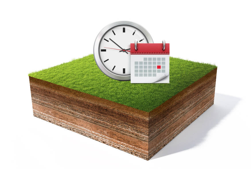 Clock and calendar sitting on lawn