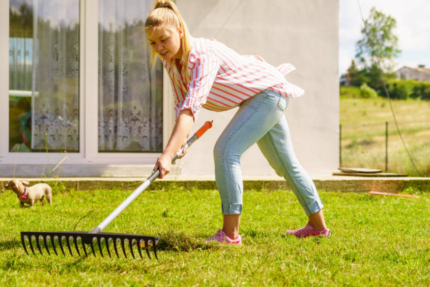 woman raking turf
