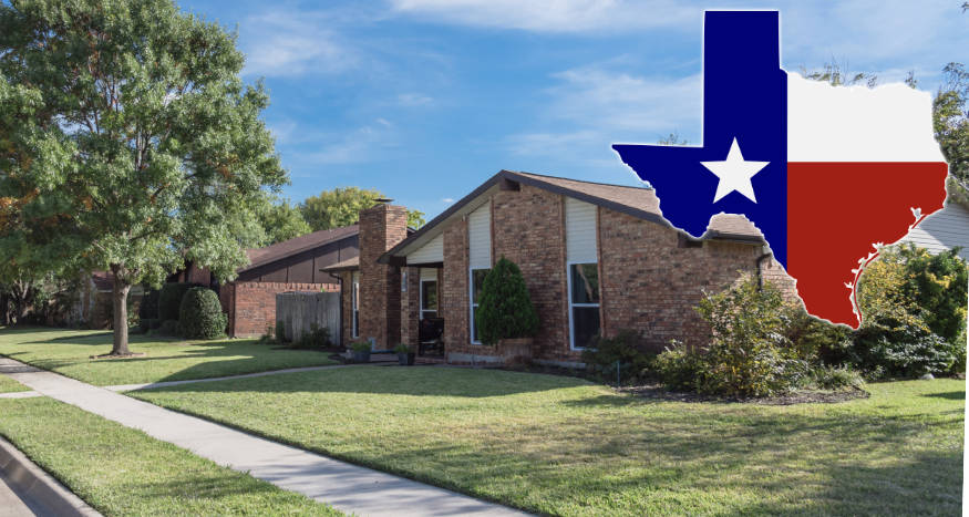 house in texas with nice lawn and map overlay