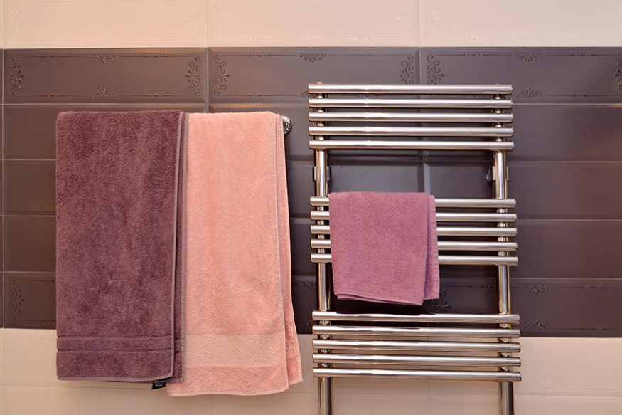 Towel warmer in bathroom