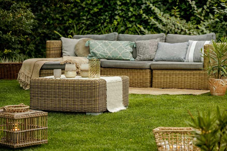 wicker rattan furniture in the back yard
