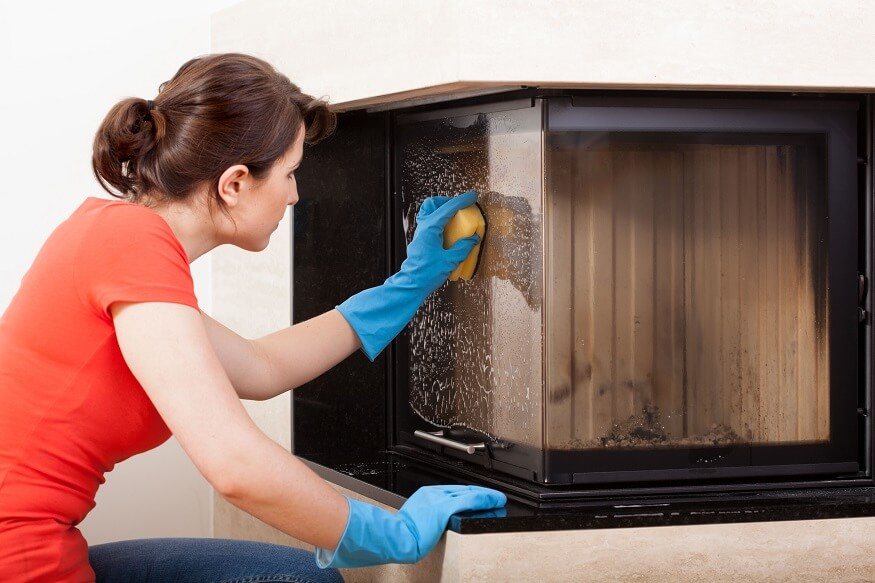 cleaning fireplace glass doors