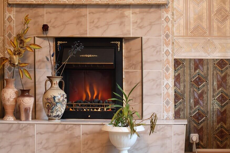 electric fireplace in living area
