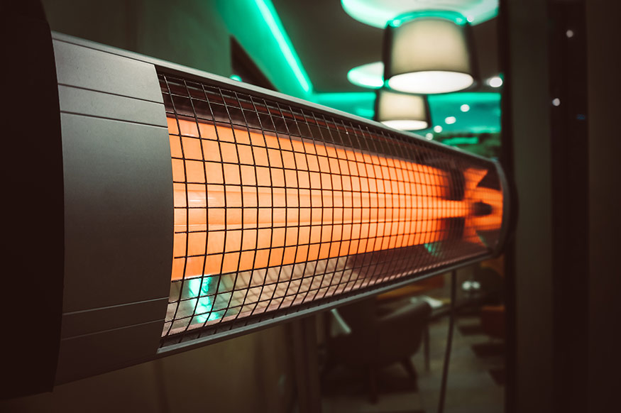 close up of infrared heater in an apartment