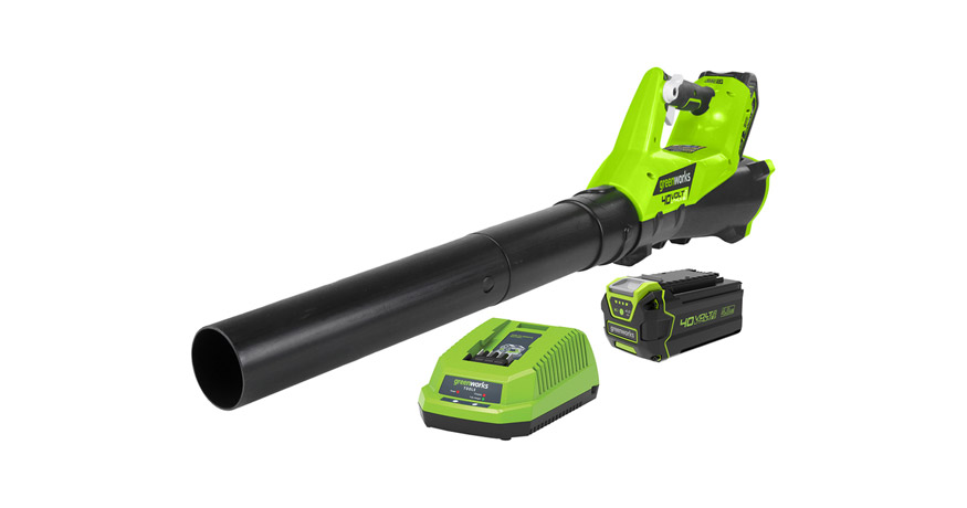 greenworks 40x axial leaf blower review - feature image