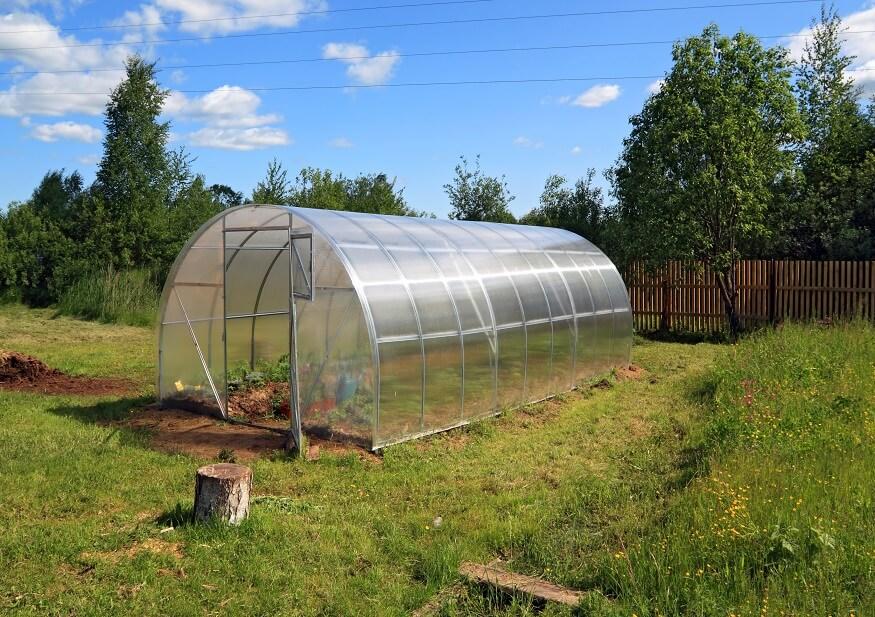 aluminum greenhouse in the garden