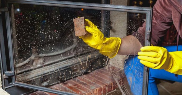 how to clean fireplace glass