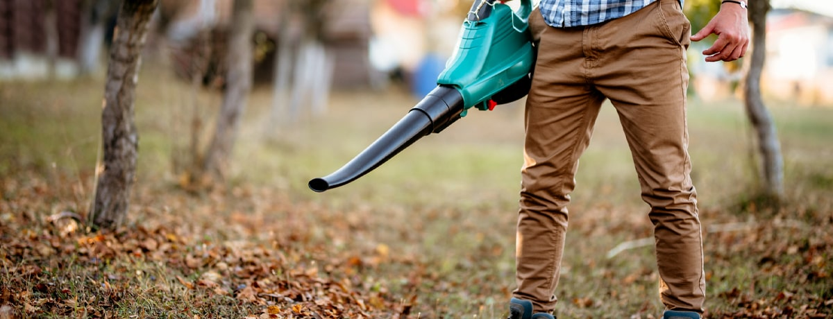 man using the best cordless leaf blower