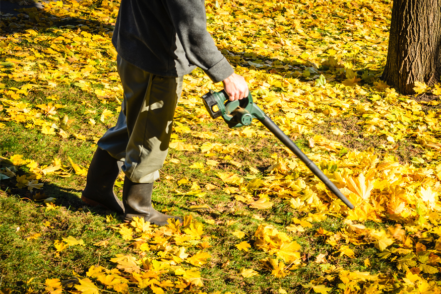 man using a cordless leaf blower to clear out dried leave