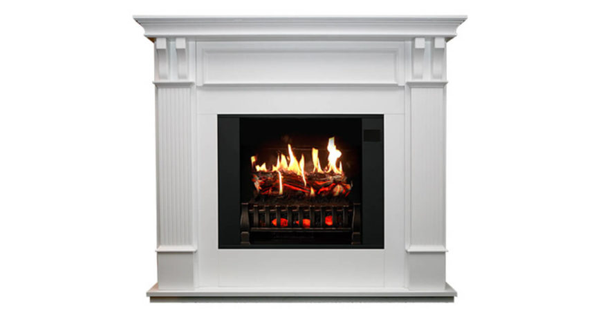 Trinity Large White Electric Fireplace Mantel & Insert With Sound