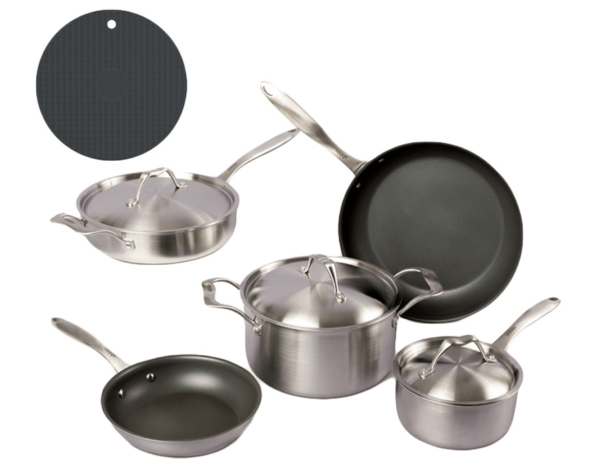 5 piece Abbio Cookware set with hot pad