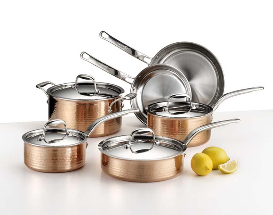 10 piece copper cookware set