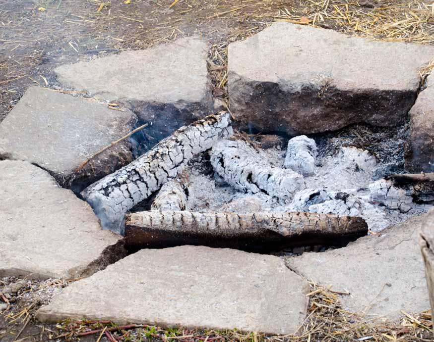 extinguished fire pit