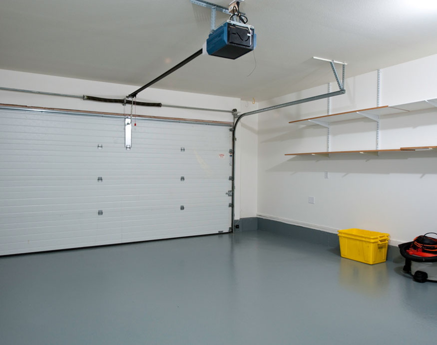 a picture of an empty and clean garage