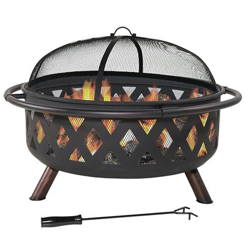 "Sunnydaze 36"" Black Crossweave Wood-Burning Fire Pit"