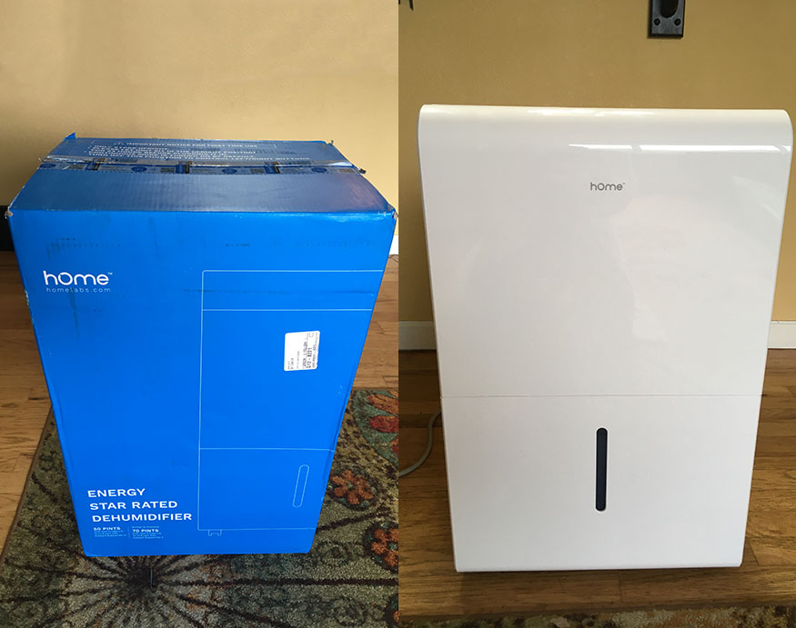 h0meLabs 50-Pint Dehumidifier with and without box