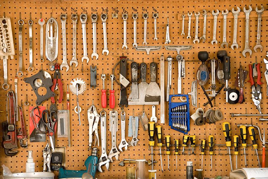 peg board tool storage
