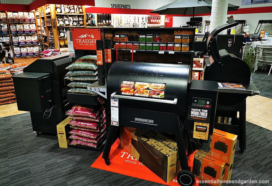 pellet grills in bbq store