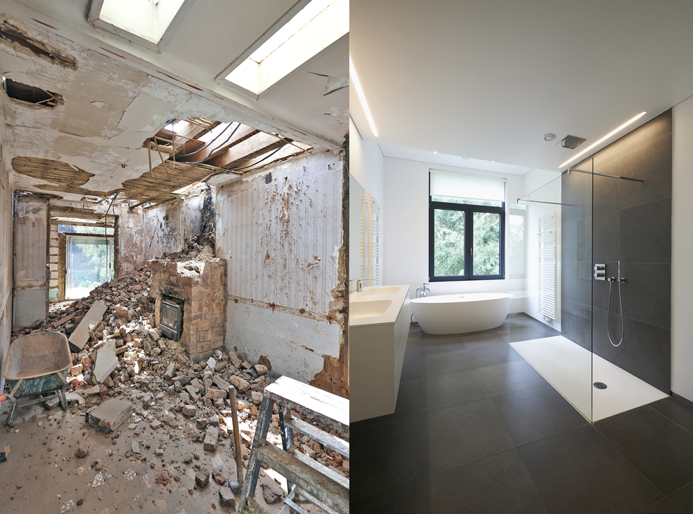 before and after picture of a bathroom renovation