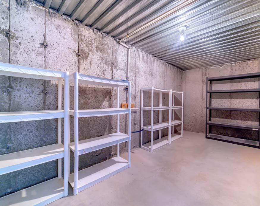 metal layer metal rack inside a storage room