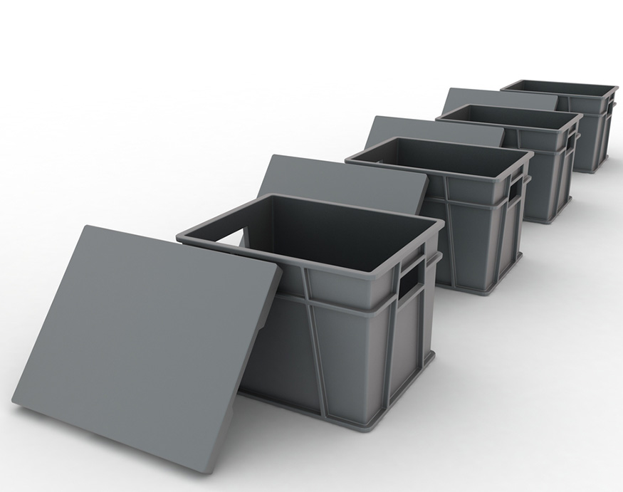 row of plastic containers