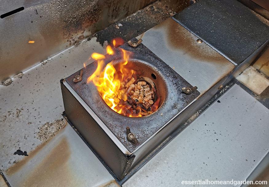 The burn pot on a traeger pellet stove