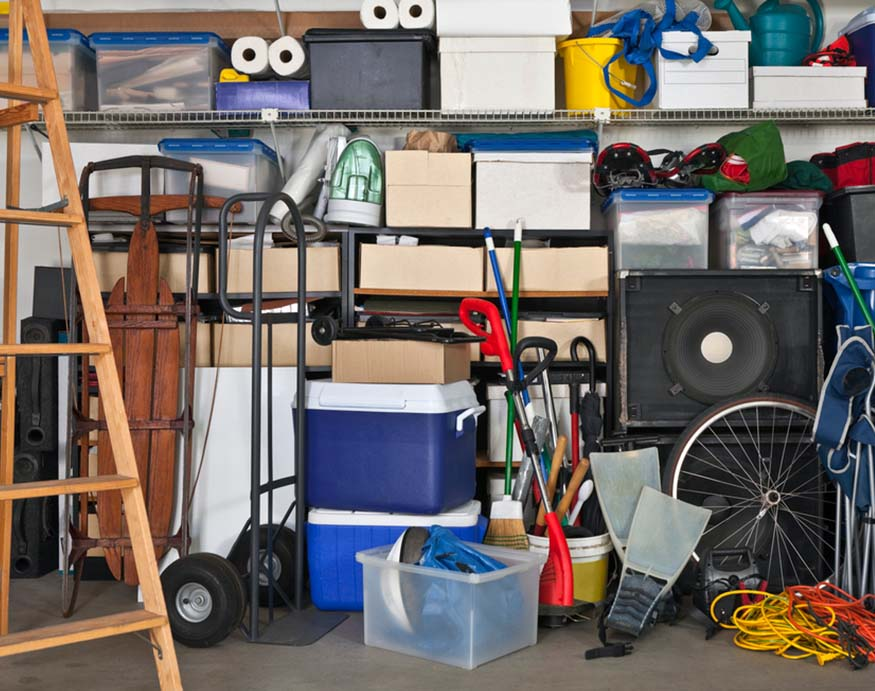 garage with cabinet