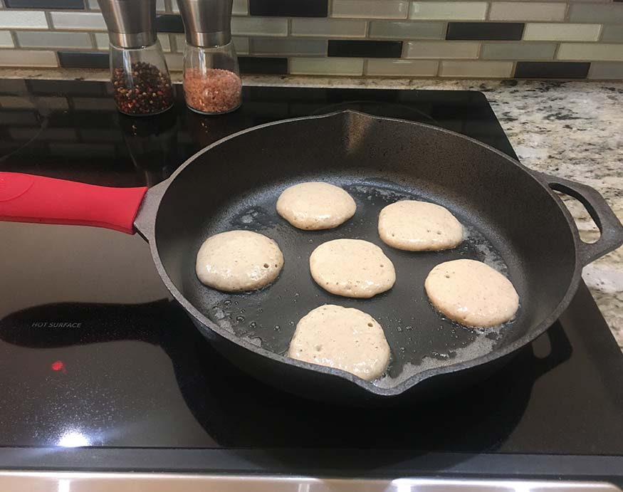 cooking pancake using the Uno Casa cast iron