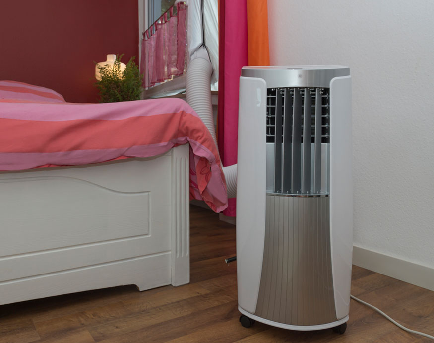 portable air conditioner inside the bedroom