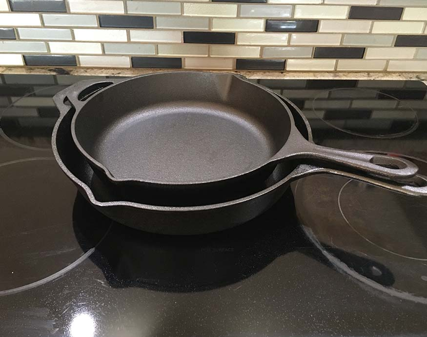 stacked Uno Casa cast iron pans