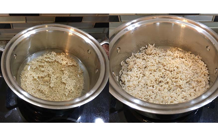 cooking rice in a 360 cookware