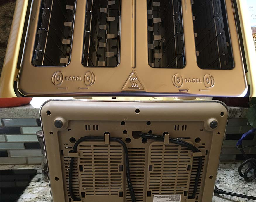 top and bottom angles of the Buydeem 4-Slice Toaster