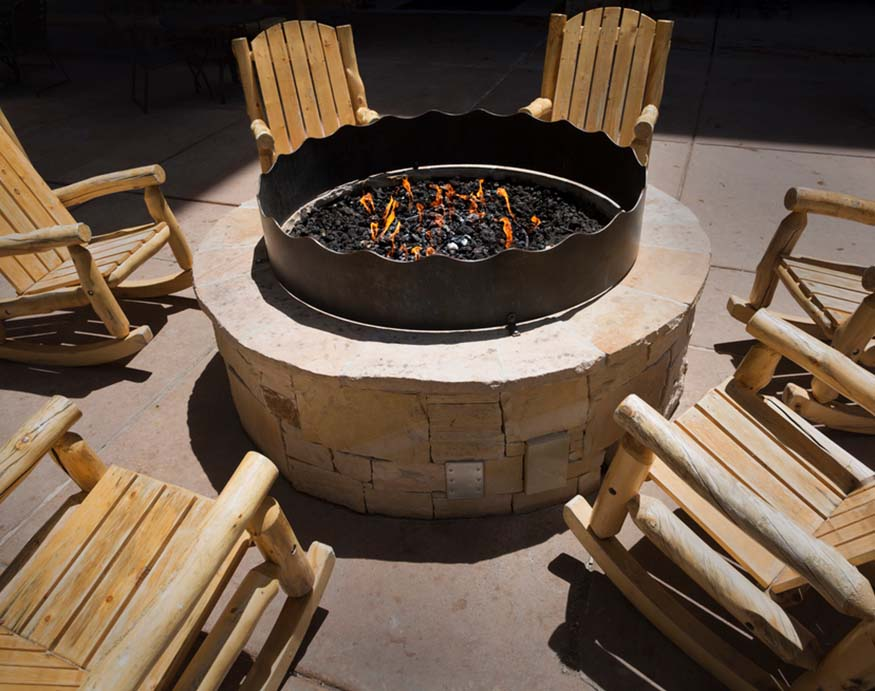outdoor fire pit with lava rocks