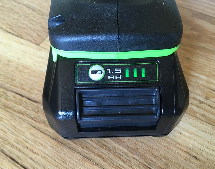Greenworks DD24L00 battery's test button