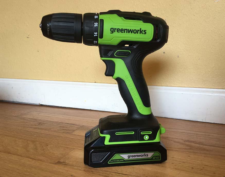 Greenworks DD24L00 24V Drill/Driver side view