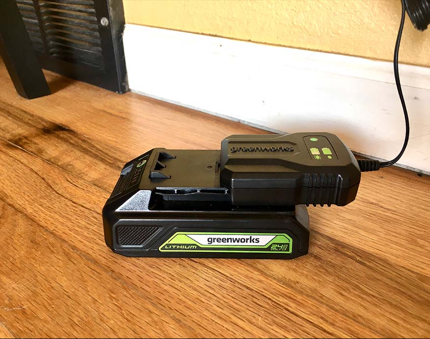 Greenworks 24V drill battery and charging dock