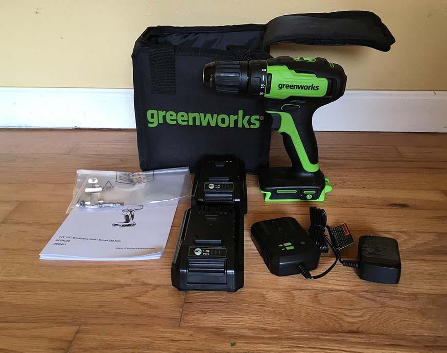 complete set of Greenworks DD24L00 24V Drill/Driver