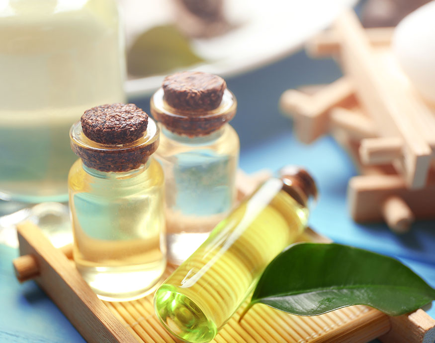 A picture of tea tree oil bottles