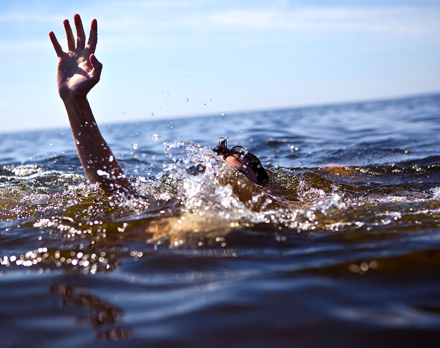 A person drowning