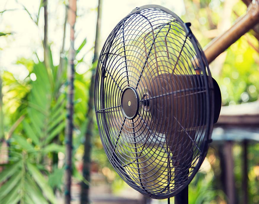 A picture of an electric fan outdoors