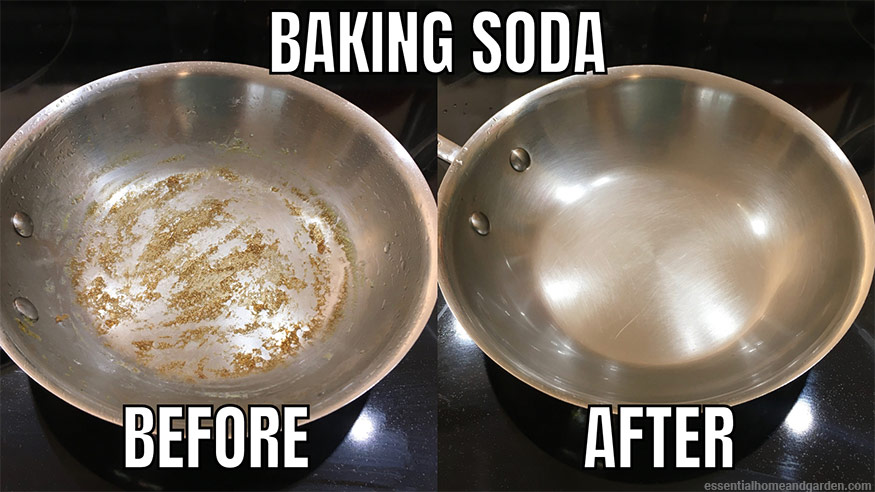 before and after shot of dirty stainless steel pan