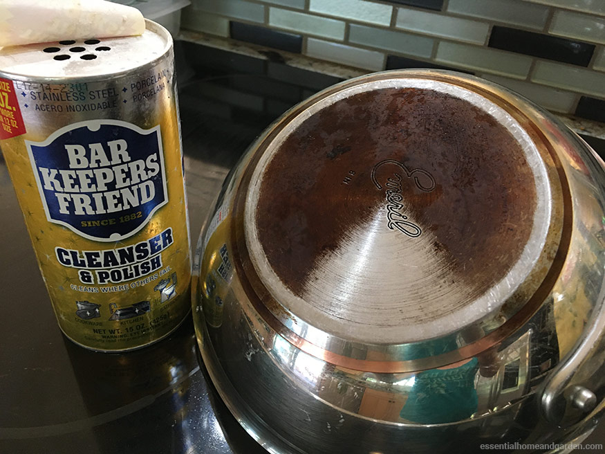 using barkeepers friend to polish bottom of stainless steel pan
